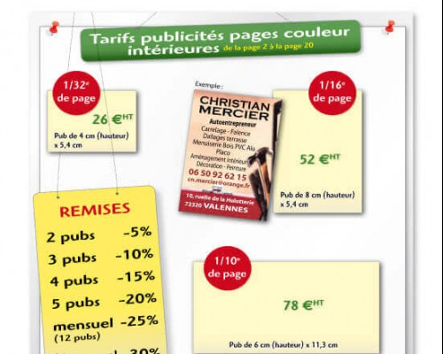 Tarifs pubs pages 2 à 20 et remises multi-parutions